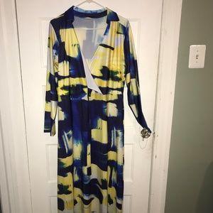 Dresses - Blue & Yellow Print Long Sleeve Wrap Dress 3/$35